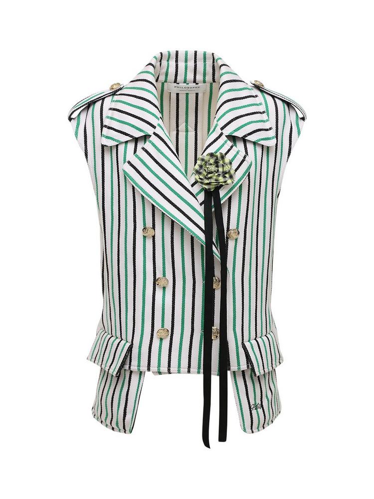 PHILOSOPHY DI LORENZO SERAFINI Oversized Striped Double Cotton Vest in green / white