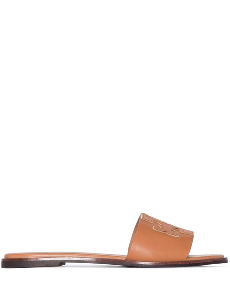 Tory Burch Ines flat leather sandals in brown
