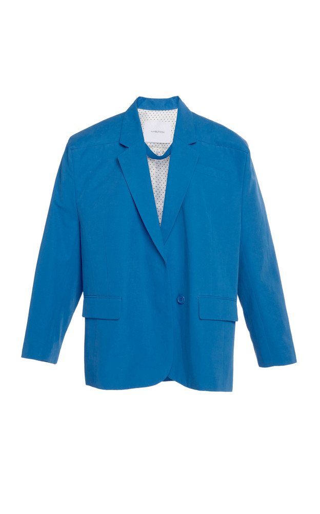 Pushbutton Oversized Cotton-Blend Blazer in blue