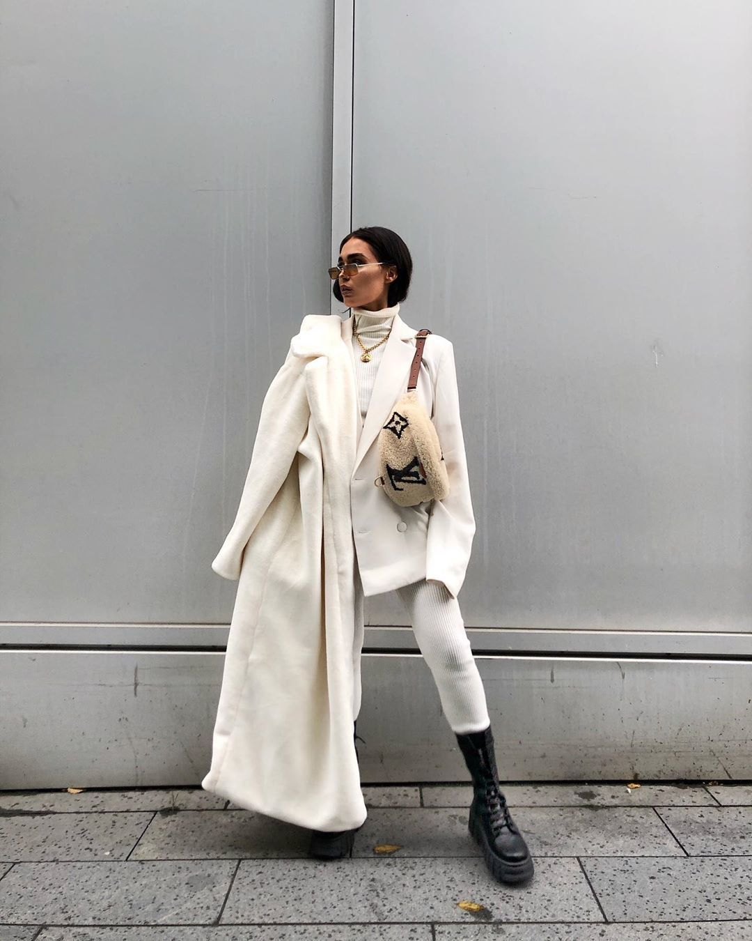 coat white coat long coat faux fur coat leggings black boots white blazer white turtleneck top belt bag