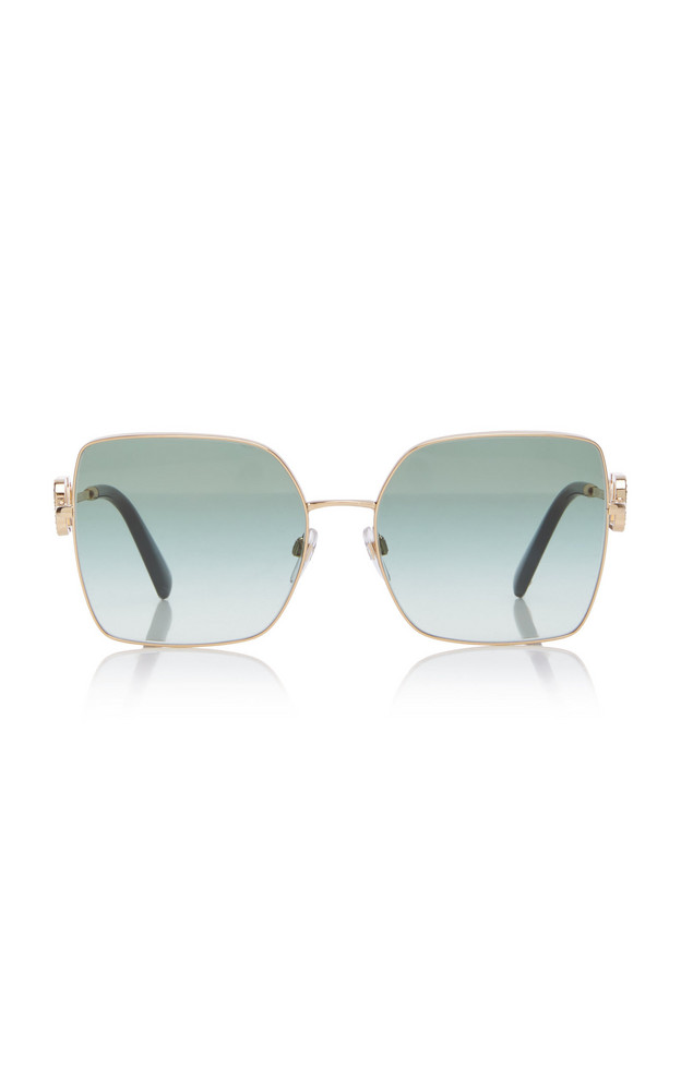 Valentino Logo-Detailed Square-Frame Metal Sunglasses in green