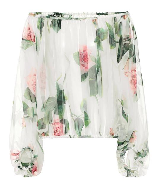 Dolce & Gabbana Floral silk-chiffon blouse in white