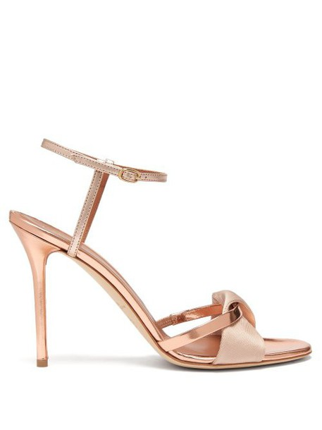 Malone Souliers - Terry Metallic And Mirrored Leather Sandals - Womens - Rose Gold
