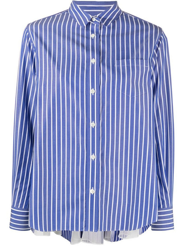 Sacai vertical stripe shirt with panelled-volume back in blue