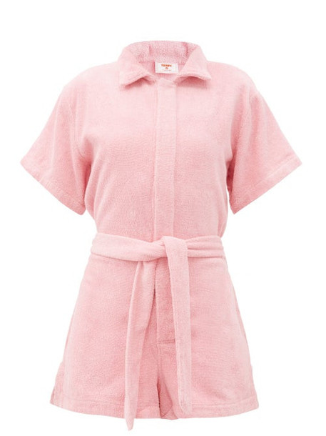 Terry - Il Pareo Belted Cotton-terry Playsuit - Womens - Light Pink