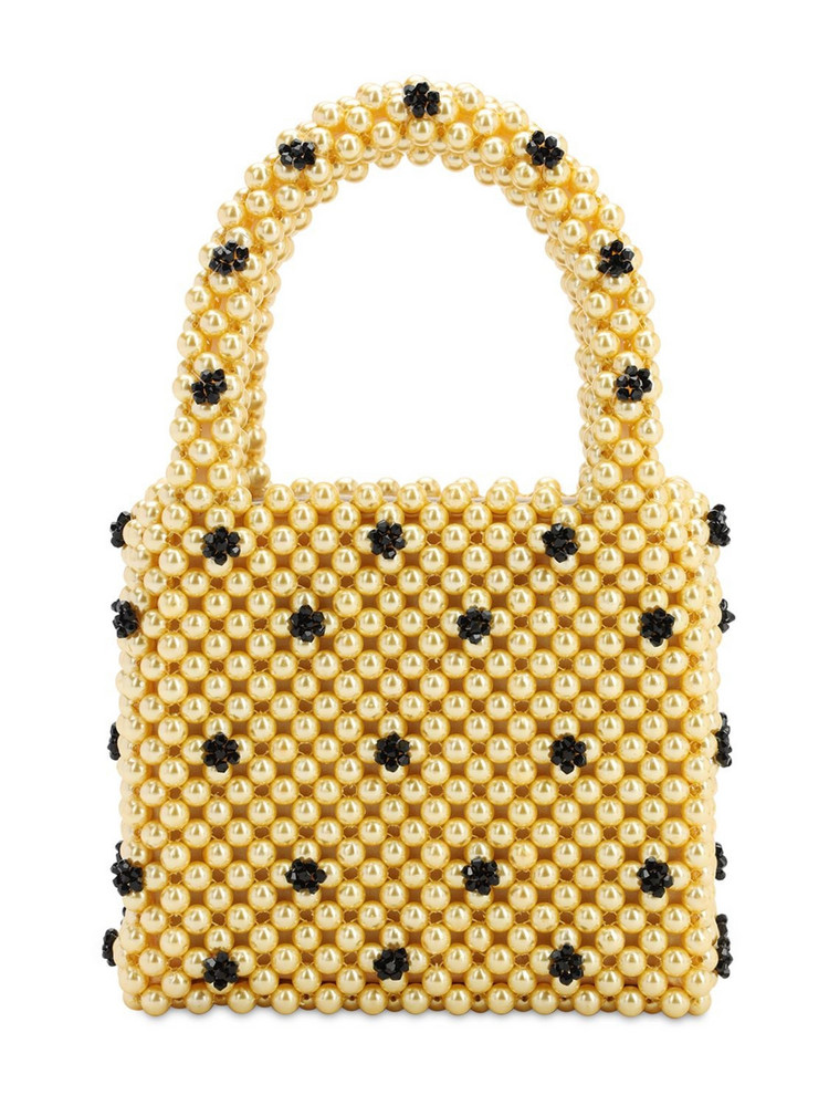 SHRIMPS Dolly Beaded Top Handle Bag in yellow