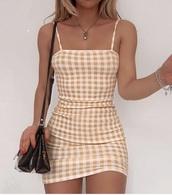 dress,yellow dress,plaid dress