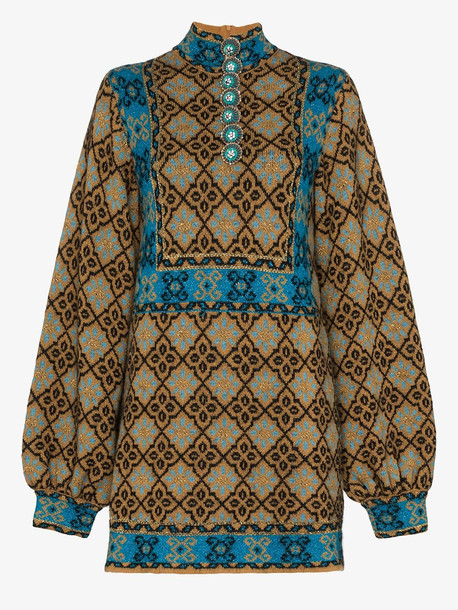 Gucci lamé GG geometric flower wool dress in brown
