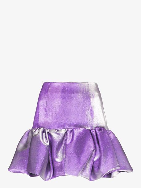 AREA puffball mini skirt in purple