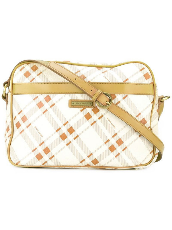 Pierre Cardin Pre-Owned checked shoulder bag in white