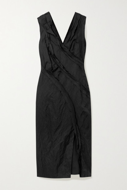 Jason Wu Collection - Ruffled Washed-sateen Midi Dress - Black