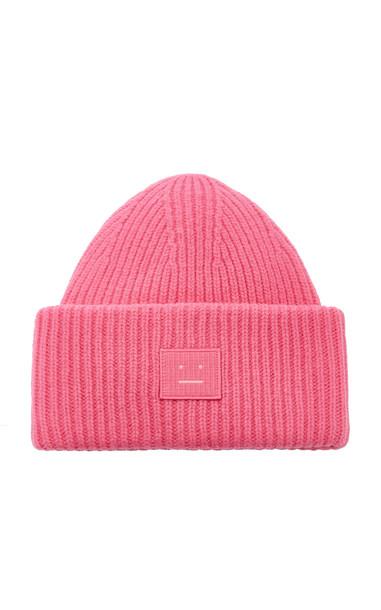 Acne Studios Pansy N Face Appliquéd Wool Beanie in pink
