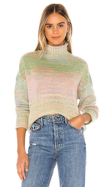 525 america Space Dyed Crop Mock Neck Sweater in Green,Blue,Coral,Yellow