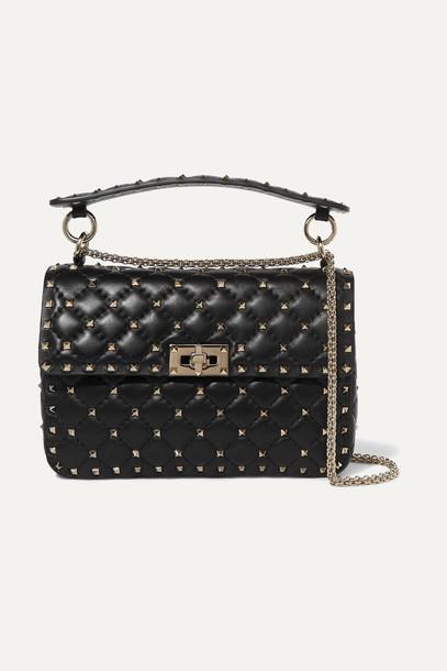 VALENTINO - Valentino Garavani Rockstud Spike Medium Quilted Leather Shoulder Bag - Black