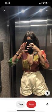 blouse,colorblock,button up,multicolor