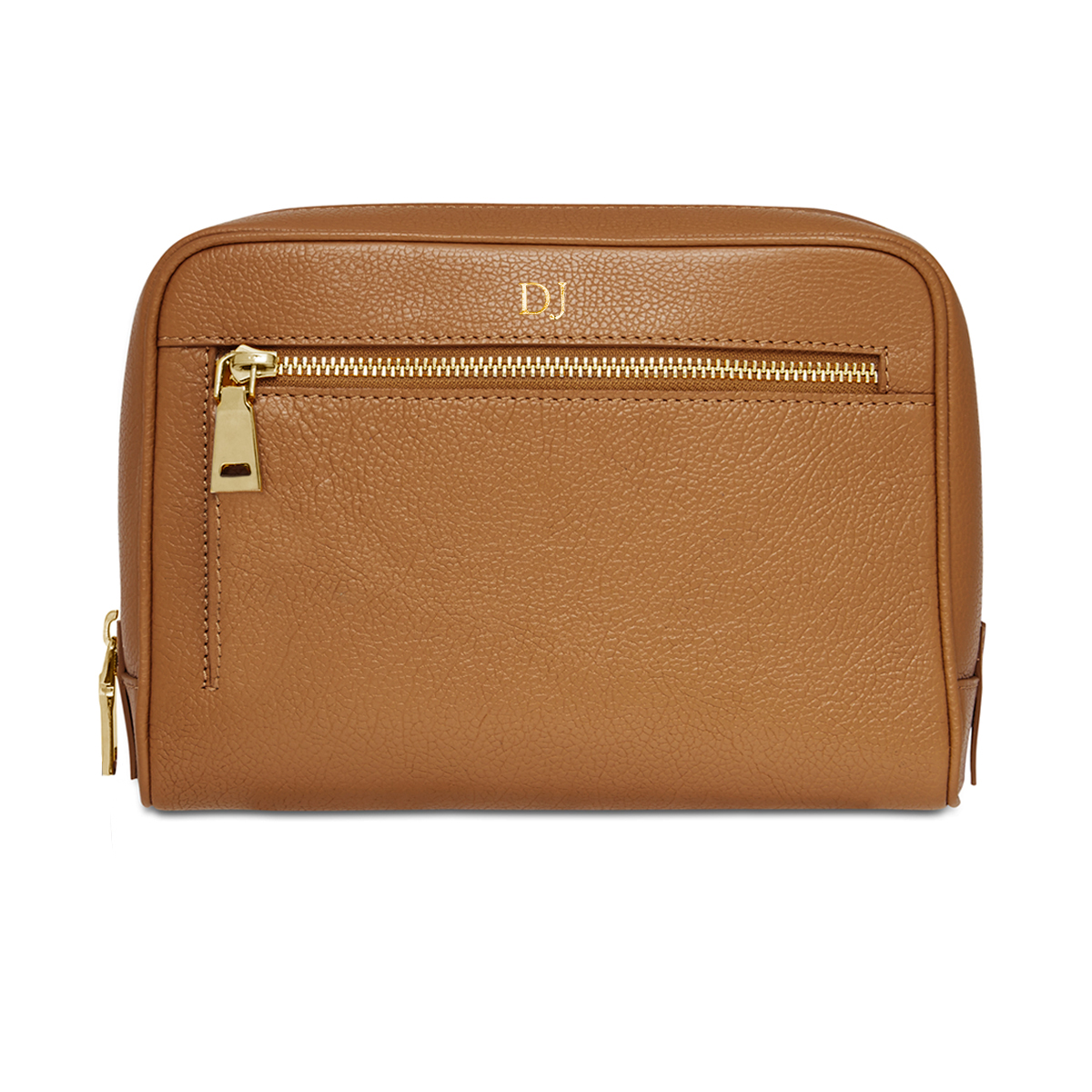 Grainy Tan Wash Bag (Gold Zip)
