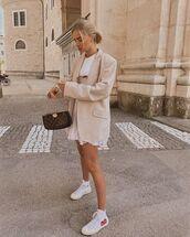 jacket,blazer,white sneakers,white dress,mini dress,bag