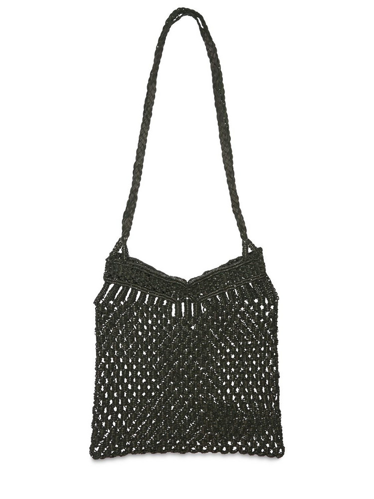 DRAGON DIFFUSION Knotted Macramé Leather Shoulder Bag in green
