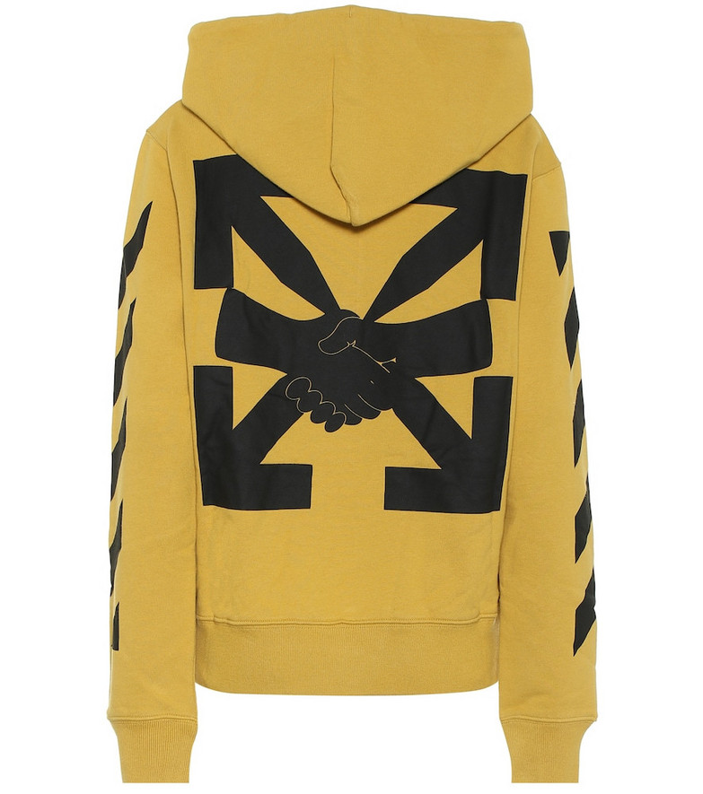 Off-White Logo cotton-jersey hoodie in yellow