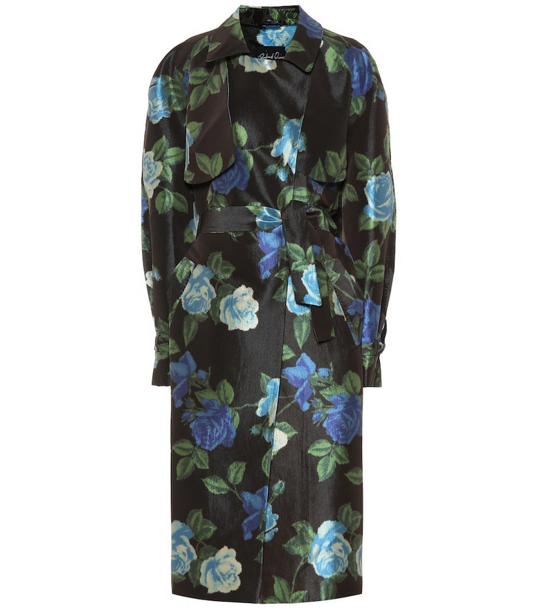 Richard Quinn Floral satin trench coat in black