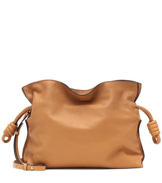 Loewe Flamenco Knot leather clutch in brown