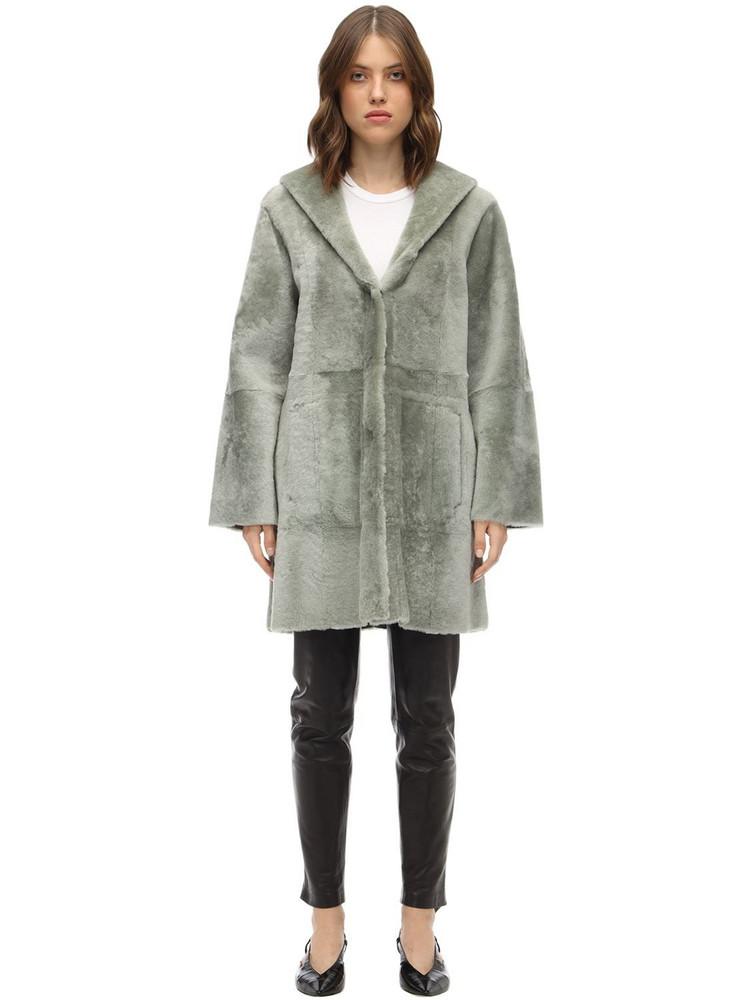 DROME Reversible Hooded Merinillo Coat in grey