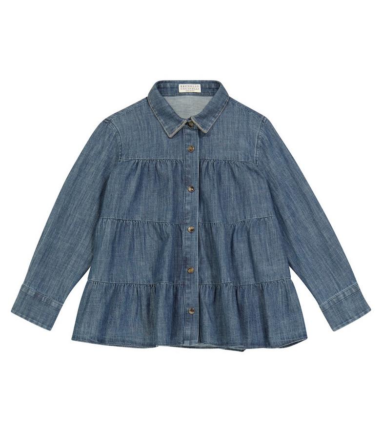 Brunello Cucinelli Kids Tiered denim blouse in blue