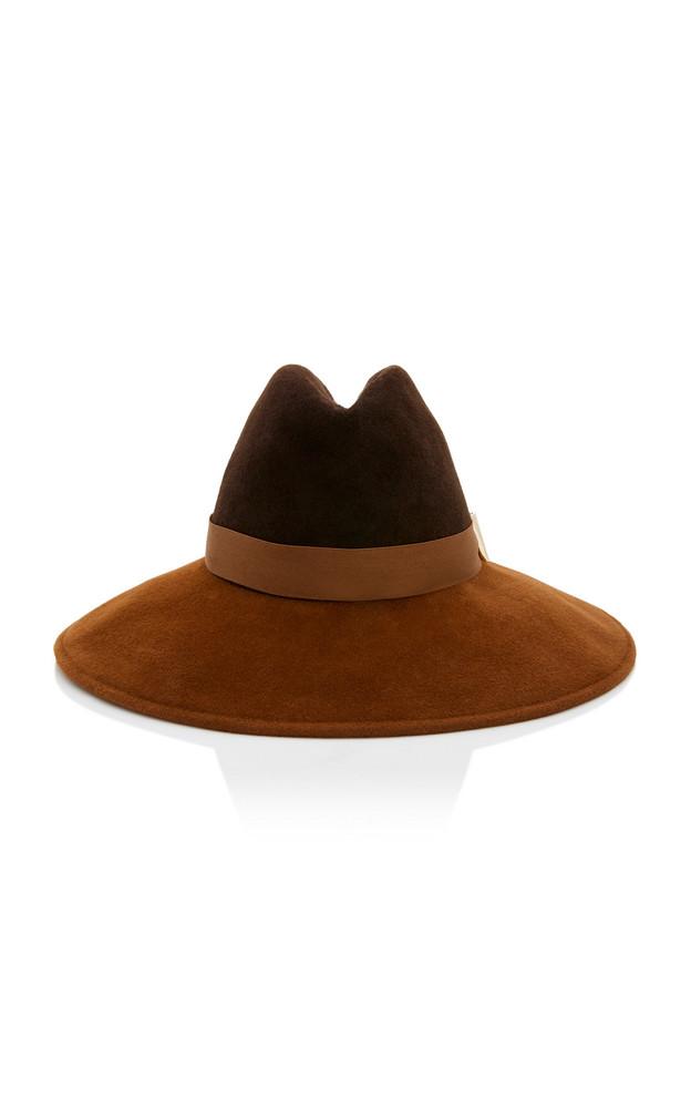 Gigi Burris Exclusive Requiem Sateen-Trimmed Wool-Felt Fedora Size: M in brown