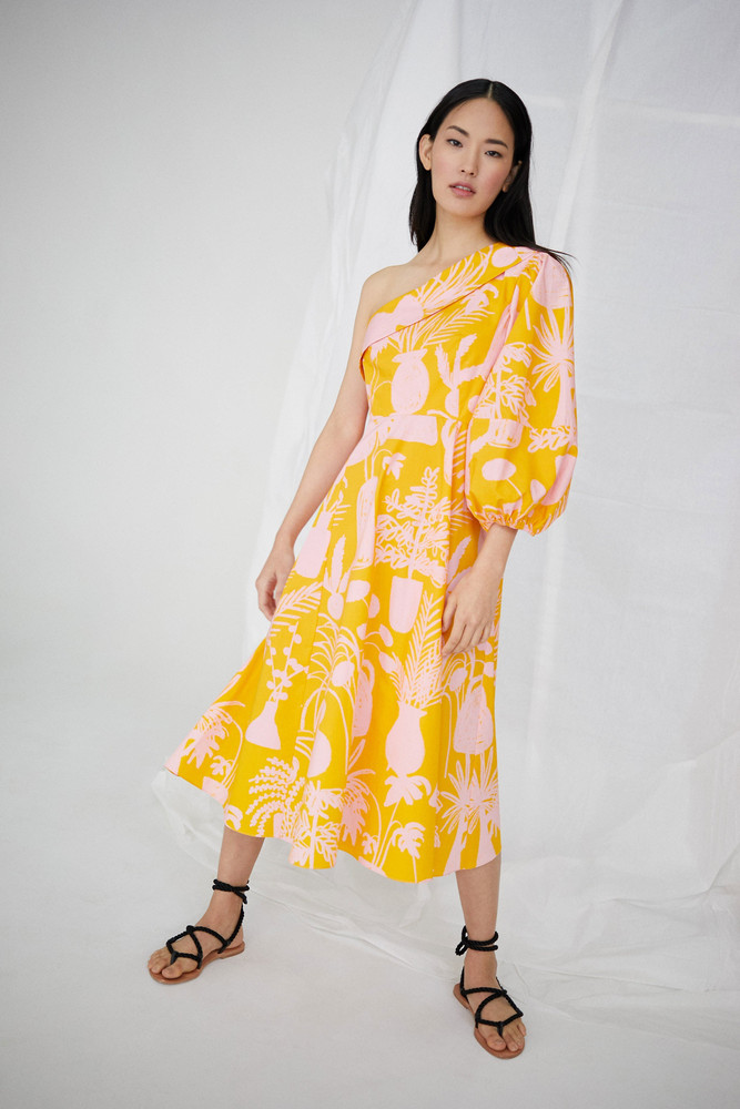 WHIT Paige Dress in Potted Plant Print Orange/Pink