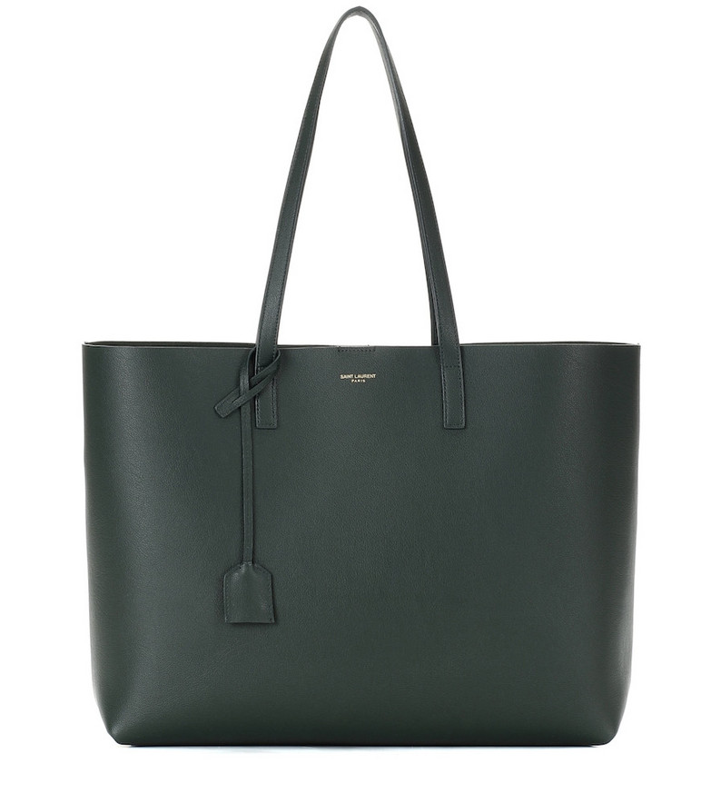 Saint Laurent Leather shopper in green