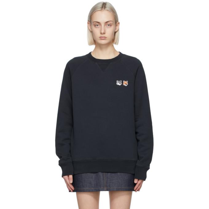 Maison Kitsune Black Double Fox Head Sweatshirt in anthracite