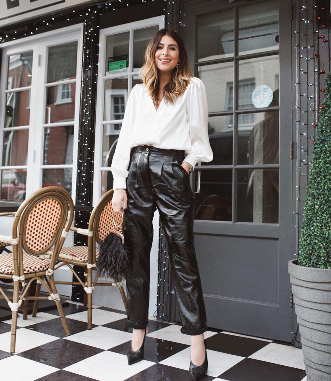 top white shirt high waisted pants black leather pants pumps bag pants straight pants