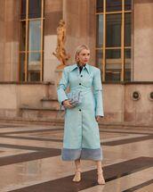coat,long coat,blue coat,fur,sandal heels,blue bag