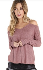 sweater,rose gold,knitted sweater,open shoulders