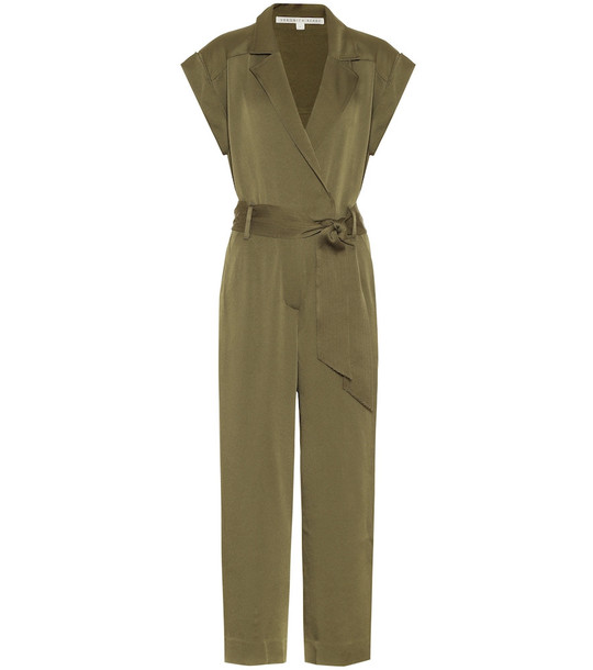 Veronica Beard Ophelia satin jumpsuit in green