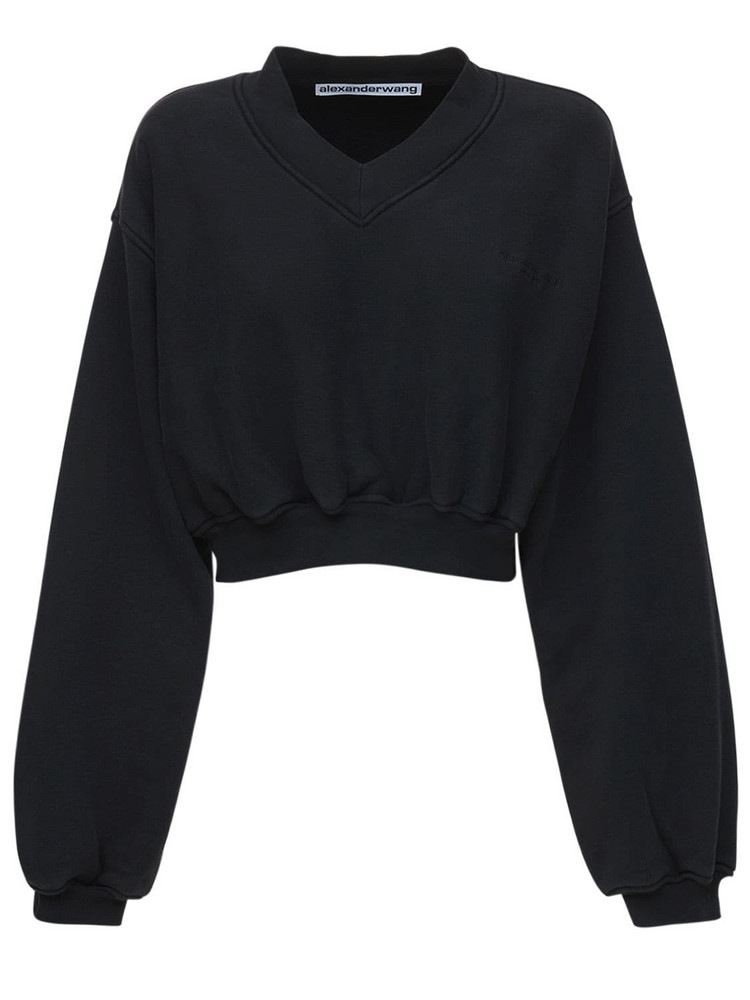 ALEXANDER WANG Logo V Neck Cropped Cotton Sweater in black