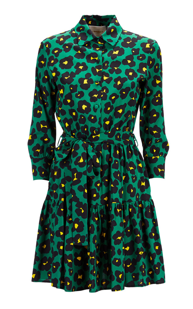 La DoubleJ Bellini Printed Satin Mini Dress Size: M in green