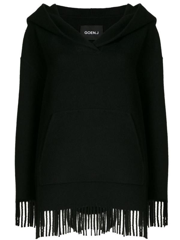 Goen.J fringed hooded jumper in black