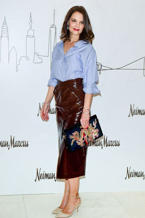 skirt midi skirt shirt top pumps celebrity faux leather katie holmes high waisted