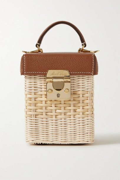 Mark Cross - Grace Cube Rattan And Textured-leather Tote - Light brown