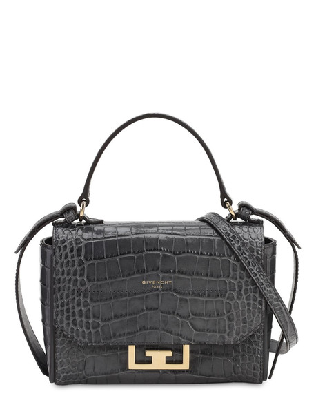 GIVENCHY Mini Eden Croc Embossed Leather Bag in grey