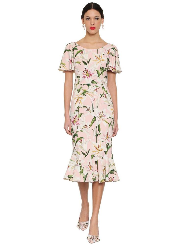 DOLCE & GABBANA Printed Cady Midi Dress in pink / multi