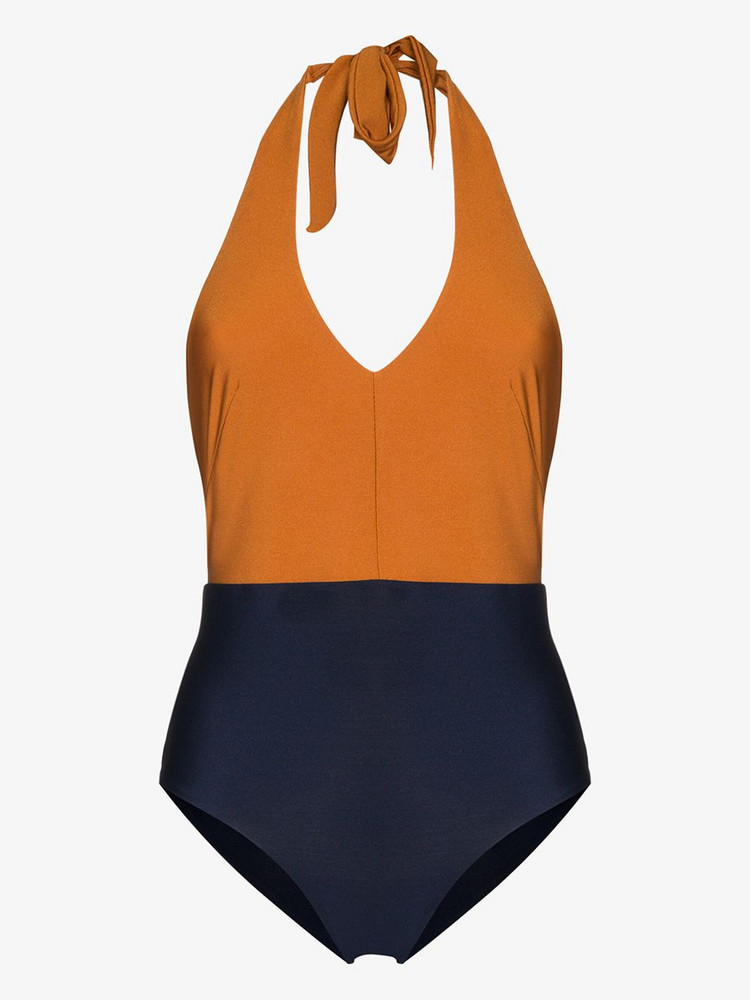 Odyssee colour block halter neck swimsuit in blue