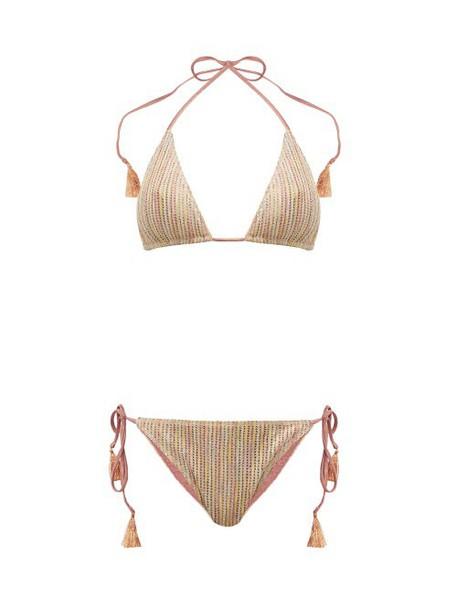 Missoni Mare - Desert Striped Lamé Knit Bikini - Womens - Nude