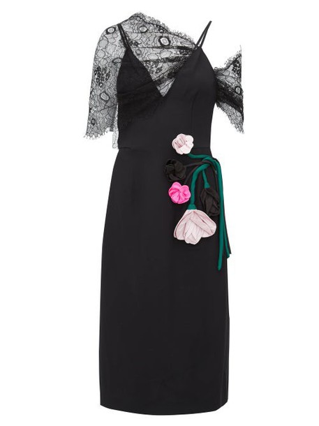 Prada - Rose Appliqué Lace Overlay Midi Dress - Womens - Black Multi
