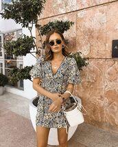 bag,white bag,mini dress,floral dress,short sleeve dress