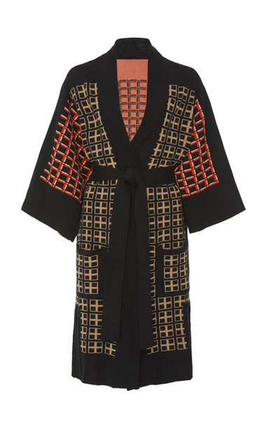 Temperley London Yukata Printed Cotton-Blend Kimono Size: M in black
