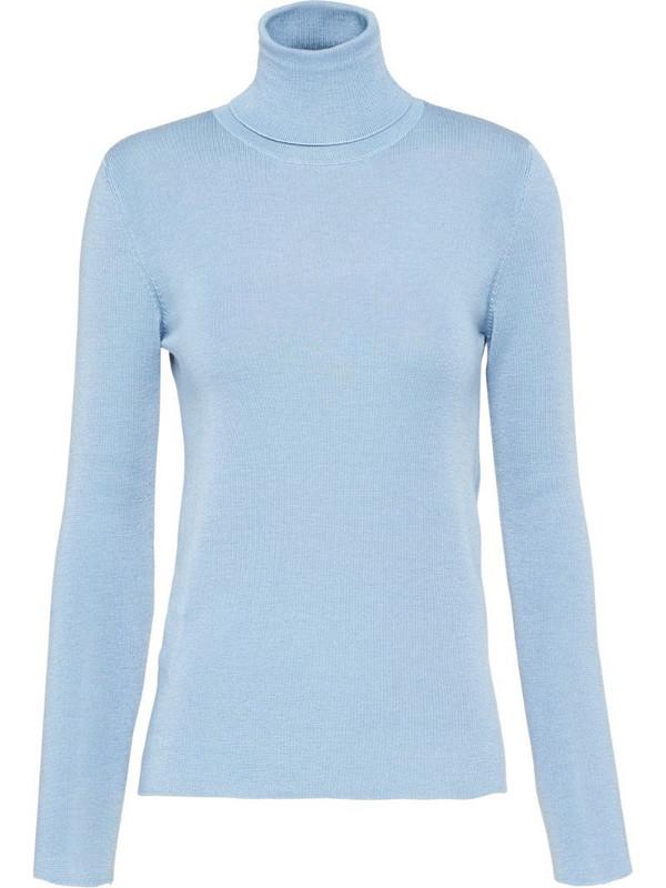 Prada turtleneck knitted jumper in blue