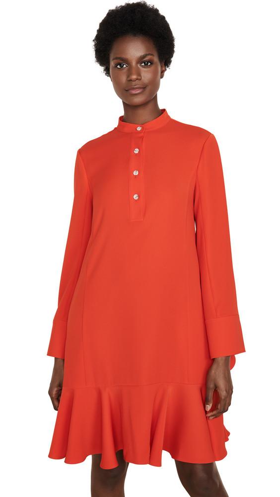 Adeam Ruffle Shirt Dress in red