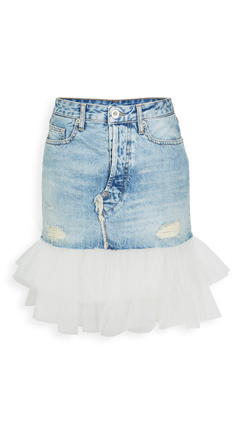 Unravel Project Moonwash Distressed Tulle Skirt in blue